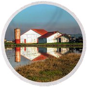 Reflection Barn  Round Beach Towel