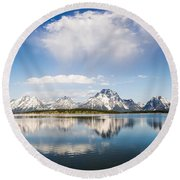 Reflection Grand Tetons Round Beach Towel