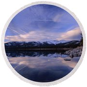Reflection In Winter Round Beach Towel