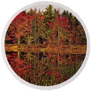 Round Beach Towel featuring the photograph Reflection Island by Kathleen Sartoris