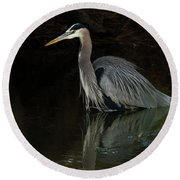 Round Beach Towel featuring the photograph Reflection Of A Heron by George Randy Bass