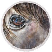 Reflection Of A Painted Pony Round Beach Towel
