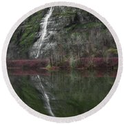 Reflection Of A Waterfall Round Beach Towel