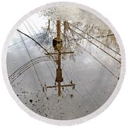 Puddle Reflections  Round Beach Towel