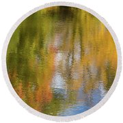 Reflection Of Fall #1, Abstract Round Beach Towel