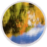 Reflection Of Fall #2, Abstract Round Beach Towel