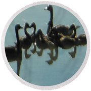 Reflection Of Geese Round Beach Towel