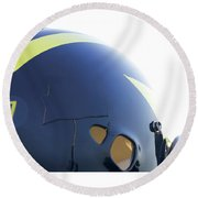 Reflection Of Goal Post In Wolverine Helmet Round Beach Towel