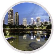 Reflection Of Jakarta Business District Skyline During Blue Hour Round Beach Towel