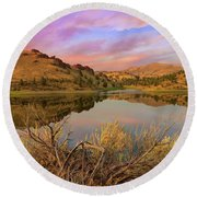 Reflection Of Scenic High Desert Landscape In Central Oregon Round Beach Towel