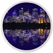 Reflection Of Sydney Round Beach Towel