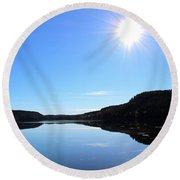 Reflection Of The Lake Round Beach Towel