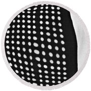 Round Beach Towel featuring the photograph Reflection On 42nd Street 1 Grayscale by Sarah Loft