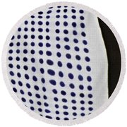 Round Beach Towel featuring the photograph Reflection On 42nd Street 1 Negative by Sarah Loft