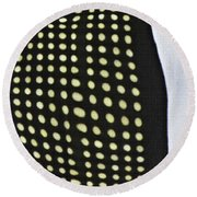 Round Beach Towel featuring the photograph Reflection On 42nd Street 1 by Sarah Loft