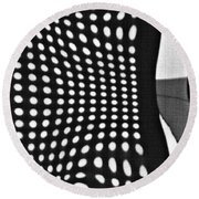 Round Beach Towel featuring the photograph Reflection On 42nd Street 2 Grayscale by Sarah Loft