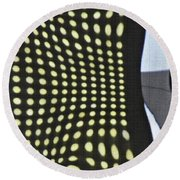 Round Beach Towel featuring the photograph Reflection On 42nd Street 2 by Sarah Loft