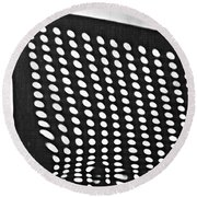Round Beach Towel featuring the photograph Reflection On 42nd Street 3 Grayscale by Sarah Loft