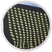 Round Beach Towel featuring the photograph Reflection On 42nd Street 3 by Sarah Loft