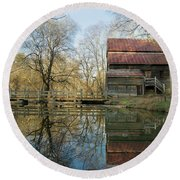 Reflection On A Grist Mill Round Beach Towel