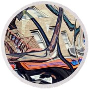 Round Beach Towel featuring the photograph Reflection On A Parked Car 18 by Sarah Loft