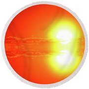 Round Beach Towel featuring the photograph Reflection On A Sunrise Two  by Lyle Crump