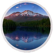 Reflection On California's Lake Siskiyou Round Beach Towel