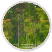 Round Beach Towel featuring the photograph Reflection On Muskrat Pond by Gary Hall