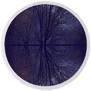 Reflection On Trees In The Dark Round Beach Towel by Joy Nichols