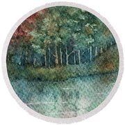 Reflections Along The Water Round Beach Towel