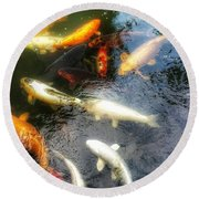 Reflections And Fish 5 Round Beach Towel