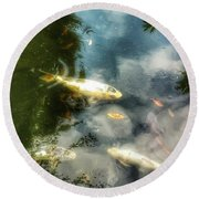 Reflections And Fish  Round Beach Towel