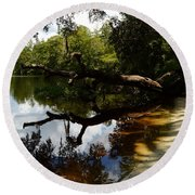 Reflections And Shadows Round Beach Towel by Warren Thompson