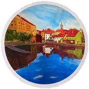Czech Reflections Round Beach Towel