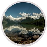 Round Beach Towel featuring the photograph Reflections by Annette Berglund