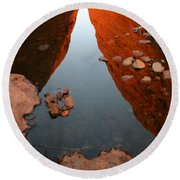 Round Beach Towel featuring the photograph Reflections At Kata Tjuta In The Northern Territory by Keiran Lusk