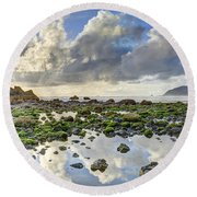 Reflections At Low Tide Hdr Round Beach Towel