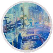 Reflections At Night In Manchester Round Beach Towel