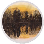 Reflections At Sunset On Bitely Lake Round Beach Towel