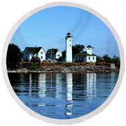 Reflections At Tibbetts Point Lighthouse Round Beach Towel