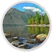 Reflections Glacier National Park  Round Beach Towel