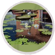 Round Beach Towel featuring the photograph Reflections II by Suzanne Gaff