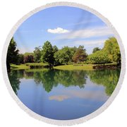 Reflections In A Pond Round Beach Towel