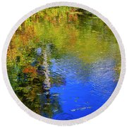 Round Beach Towel featuring the photograph Reflections In A Pond by Gary Hall