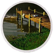 Reflections In A Restless Pond Round Beach Towel