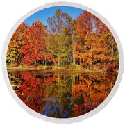 Reflections In Autumn Round Beach Towel by Ed Sweeney