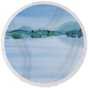 Reflection Of Mt Rugby In Bathurst Harbour Round Beach Towel