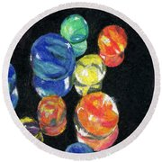Reflections In Black Round Beach Towel by Lynne Reichhart