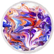 Round Beach Towel featuring the painting Reflections In Chrome by Fred Wilson