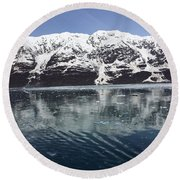 Reflections In Icy Point Alaska Round Beach Towel